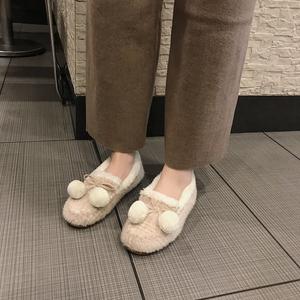 欧洲站2018新款秋冬网红皮毛一体毛毛鞋女外穿平底一脚蹬懒人单鞋