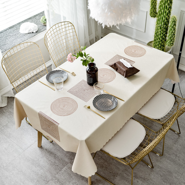 Nordic tablecloth waterproof, anti scald, anti oil, wash free tablecloth simple and fresh table cloth rectangular household PVC