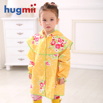 Hugmii Girl poncho Flower Princess children raincoat Flower back bag girl hooded rain gear
