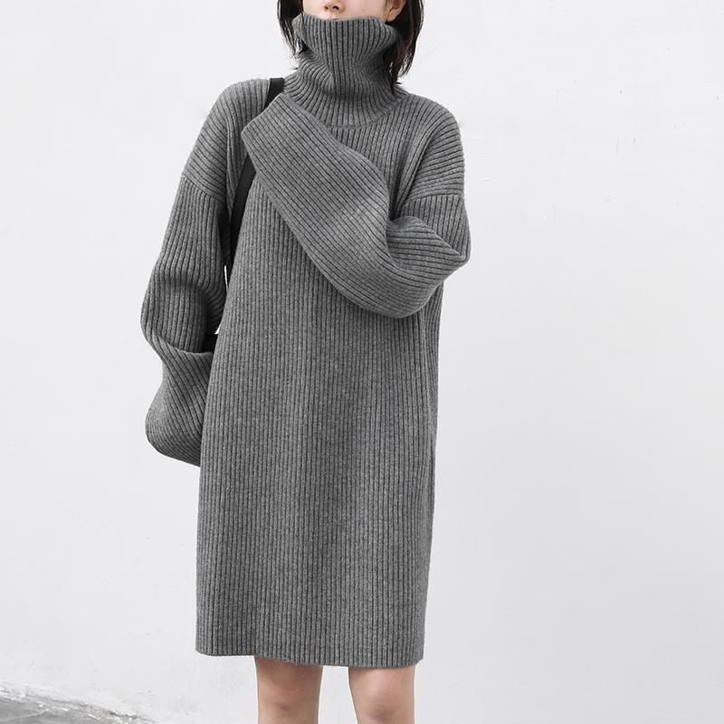 CHICVEN2020新款简约高领宽松毛衣裙中长款堆堆领针织连衣裙秋冬