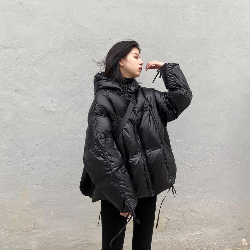 CHICVEN2019冬季新款90白鸭绒黑色连帽羽绒服女工装风面包服外套!