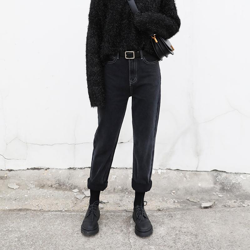 CHICVEN自制秋冬复古高腰宽松显瘦直筒哈伦黑灰色牛仔裤锥形裤女