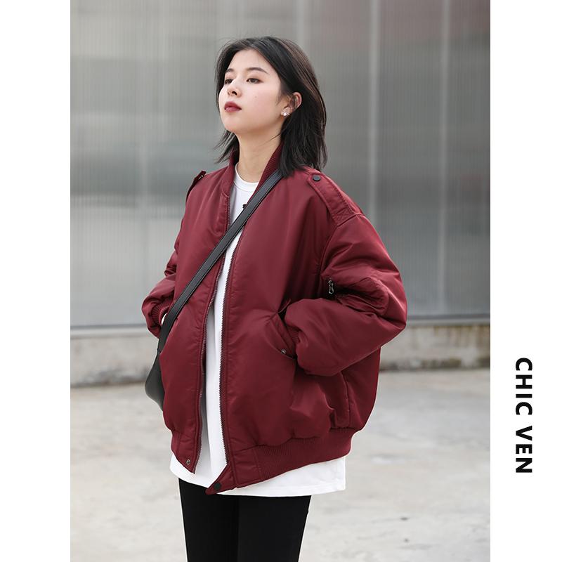 CHIC VEN韩版宽松三色棉服秋冬新款2020保暖棉衣棒球夹克服