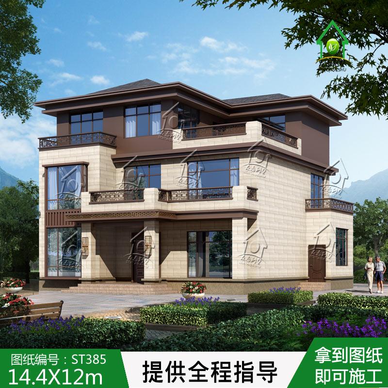 ST385三层新中式别墅设计图纸房设计图农村自建房施工效果图全套
