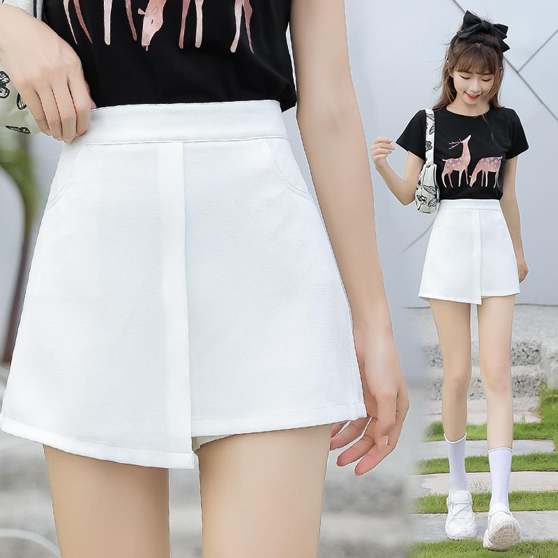 2020夏季新款高腰a字半身裙女夏黑色显瘦开叉短裙包裙包臀裙子潮