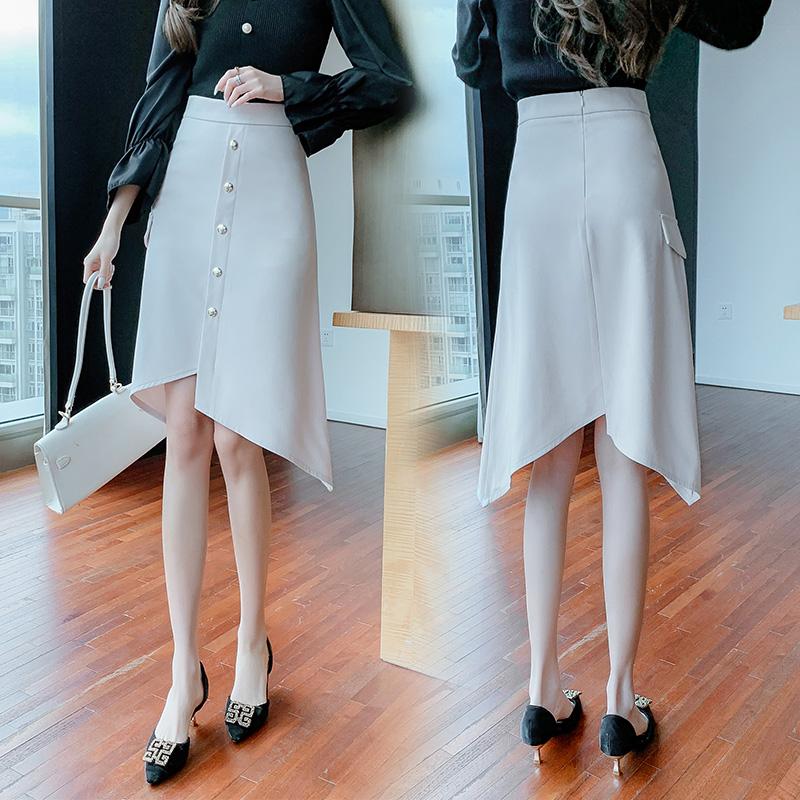 不规则黑色半身裙女秋冬2021新款设计感小个子中长款高腰A字裙子