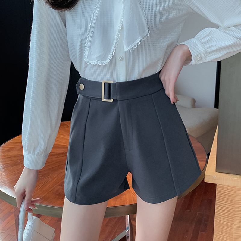 春夏直筒宽松西装短裤女百搭显瘦高腰阔腿裤韩版网红气质外穿裤子
