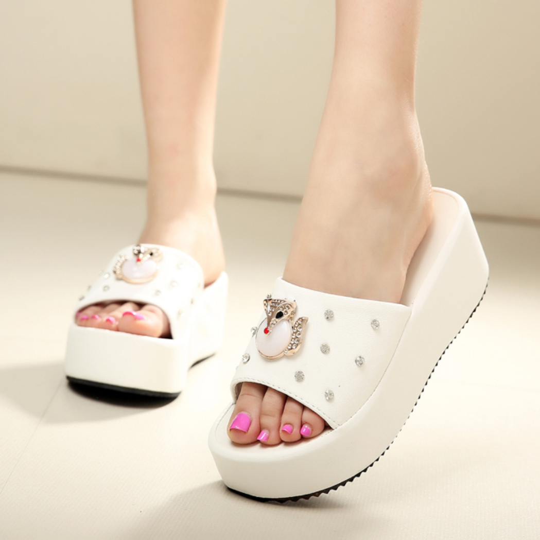 2019夏季新款学生凉拖鞋女鞋坡跟松糕鞋厚底凉鞋中跟一字拖韩版