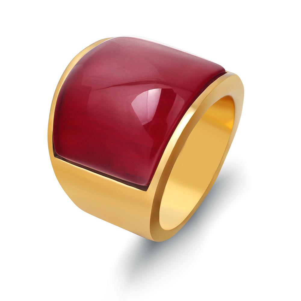 瑞铂朗欧美外贸扳指复古猫眼石钛钢戒指不锈钢男士个性戒指指环