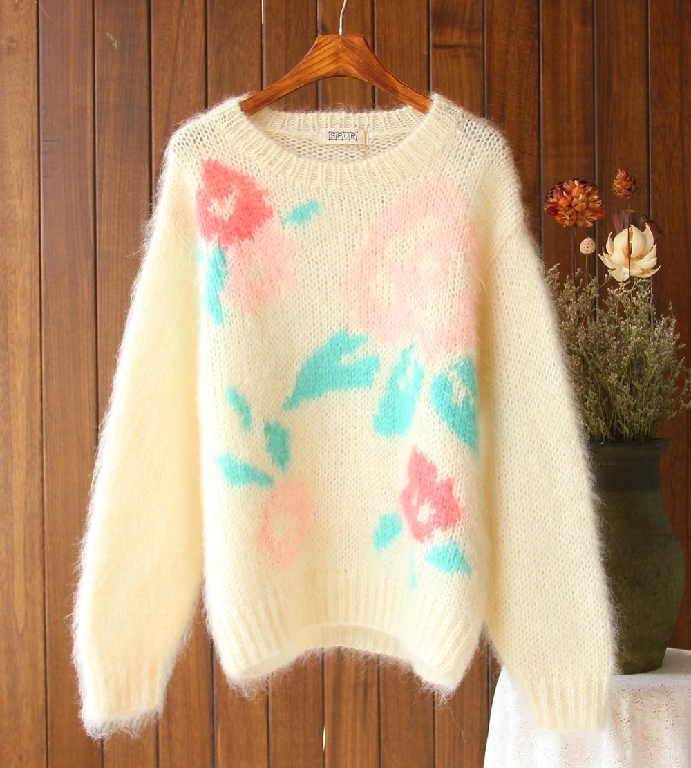 Export original single forest Mohair girl flower pattern versatile round neck loose retro Pullover