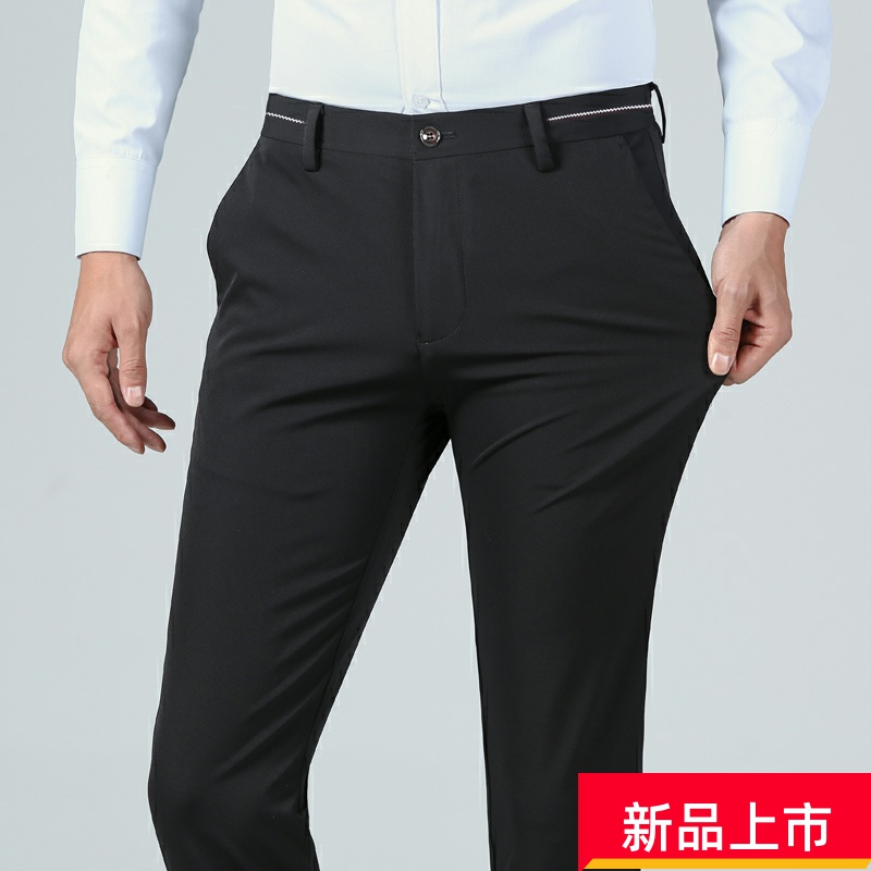 Hengyuanxiang suit pants mens spring thin pants business dress high waist loose easy iron free middle aged mens trousers