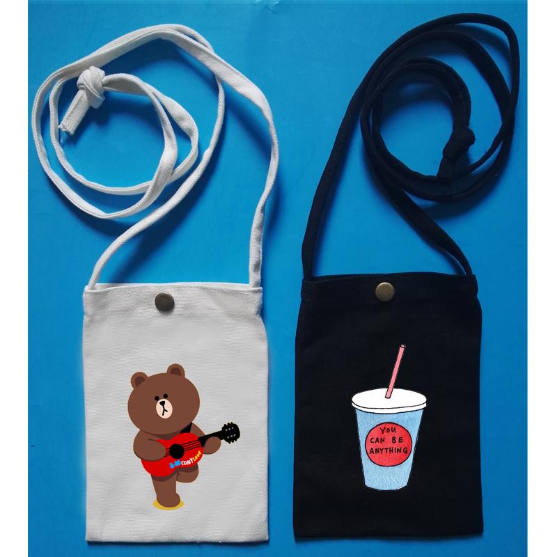 原创设计来图定制帆布零钱包斜跨学生可爱单肩包空白手绘手机袋