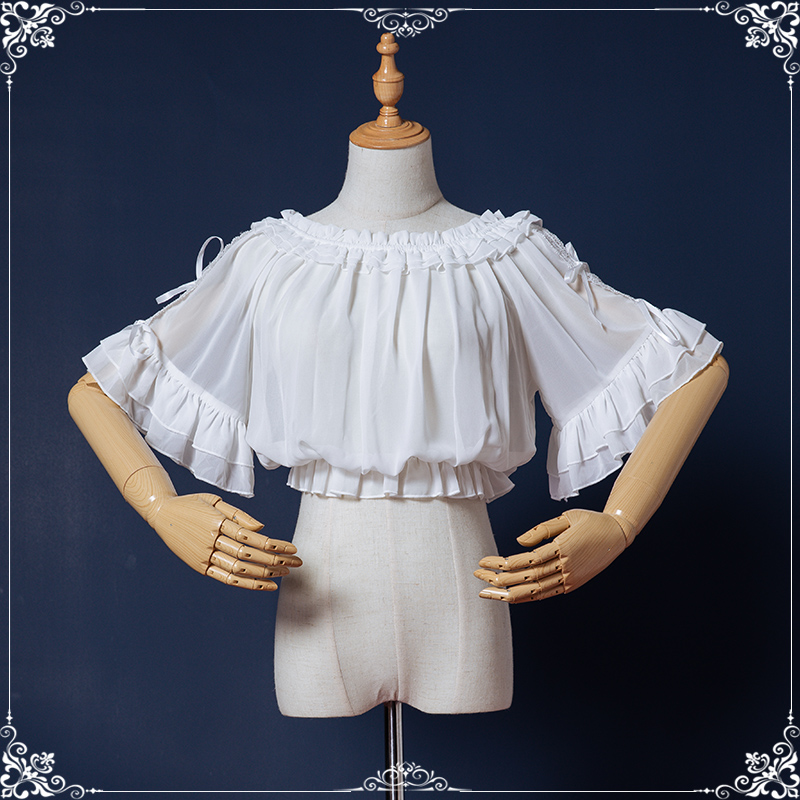 Original Lolita with Short Sleeve Chiffon Top, lovely bow tie, lace, one line collar, Lolita Dress Top