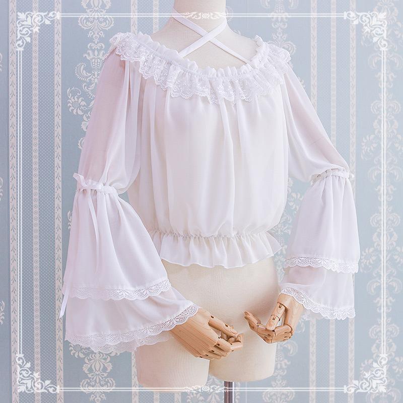 Lolita Dress Chiffon sleeve with summer Lolita top cute one neck shirt