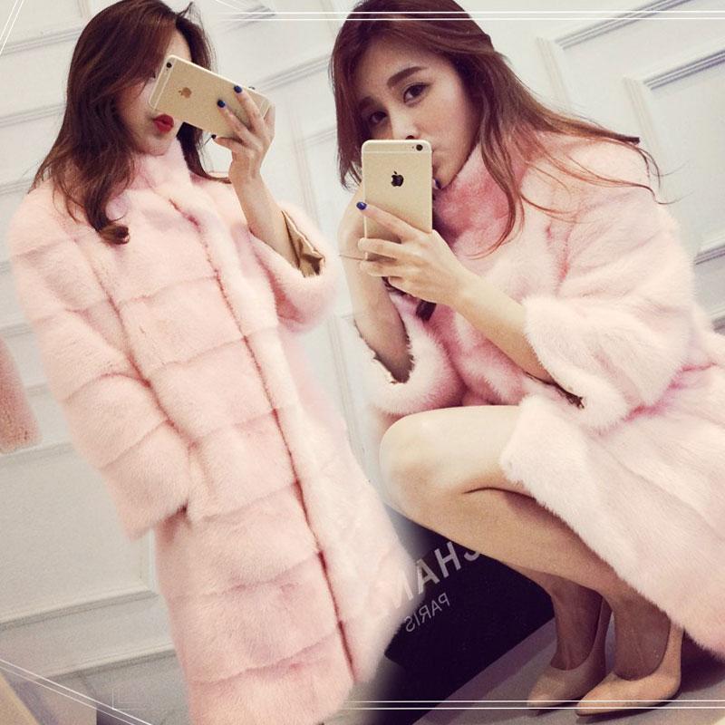 Корея женщин длинный тонкий воротник Жюстин норки бархата как новая зимняя женская пальто норки Шуба