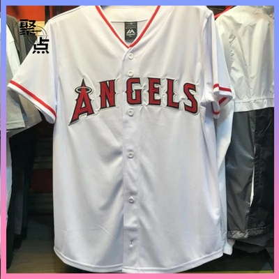 Gathering Taiwan counters authentic MLB baseball league Angels ANGELS red and white baseball jersey
