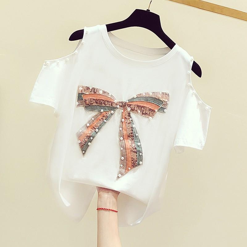 2020夏装新款韩版手工钉珠蝴蝶结亮片露肩圆领短袖T恤女休闲上衣图片