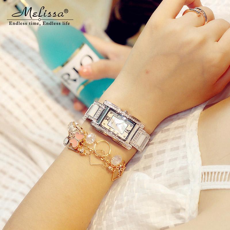 Melissa方型手表女水钻表韩版女士手表陶瓷表带时尚潮流防水女表
