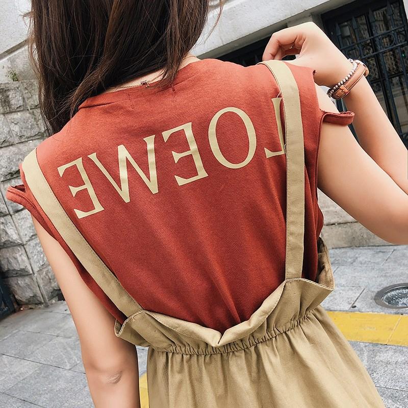 韩版无袖连衣裙女字母背心显瘦吊带背心裙两件套