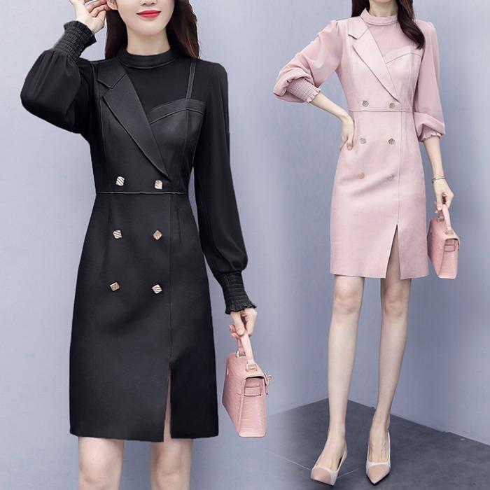 2020年新款秋装轻奢名媛气质淑女设计感小众不规则网纱拼接连衣裙