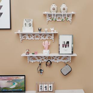 客厅创意卧室墙壁隔板墙上搁板壁挂置物架衣帽架收纳免打孔 欧式