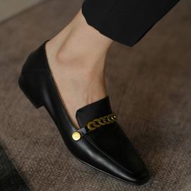 何其丑 黑色深口女鞋平底鞋女单鞋真皮平跟小皮鞋