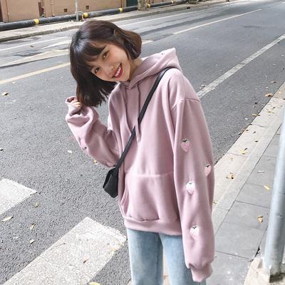 日系甜美草莓刺绣香芋紫连帽卫衣女chic学生加绒加厚ins外套上衣