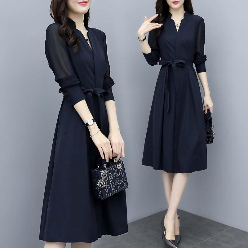 2021新型婦人服春服ワンピースVネックはウエストが細く見えるボトムスフレンチ長袖エレガントなシフォンスカート女性です。