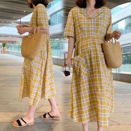 孕妇连衣裙纯棉格子裙时尚宽松大码长款过膝长裙孕妇夏装裙子