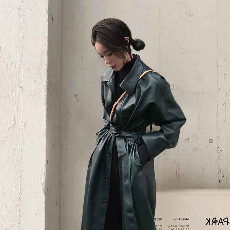 超酷帅气皮衣外套女长款潮2020秋冬新款个性开叉收腰PU皮风衣大衣