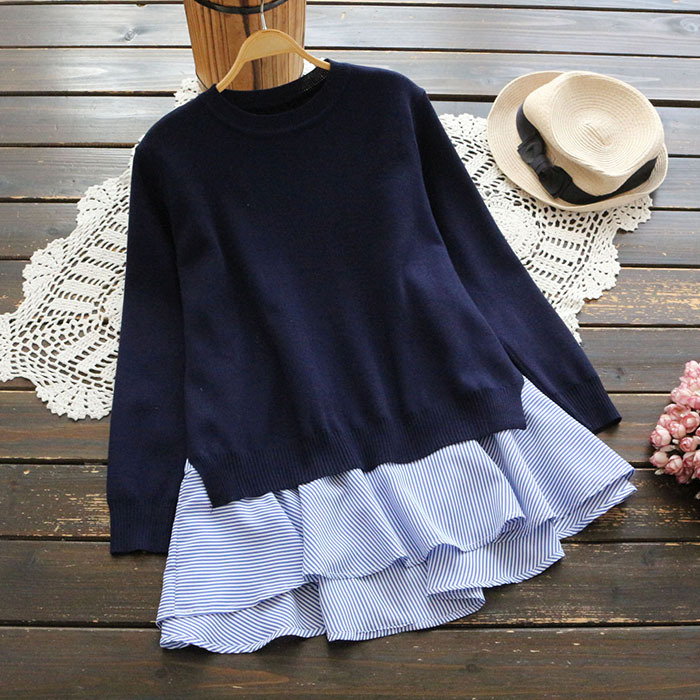 Autumn long sleeve T-shirt with T-shirt with back split neck and striped vest