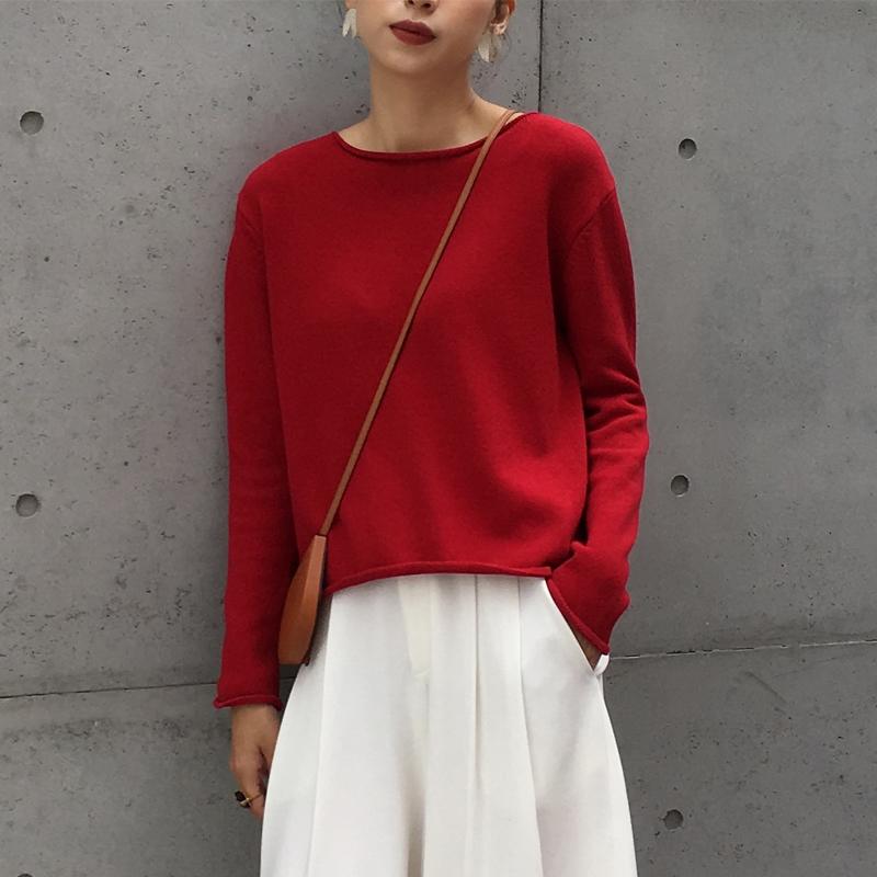 「MSWU自制」不易变形工艺针织衫女秋季新款纯棉实穿简约红色毛衣