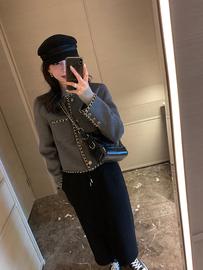 MSWU/21FW 年底限量~重工小香风外套 羊毛双面呢短款粗花呢上衣女