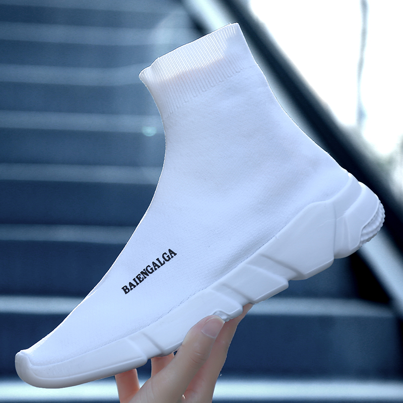2017 summer simple high top sock shoe fashion couple knitted face breathable casual sports mens shoes