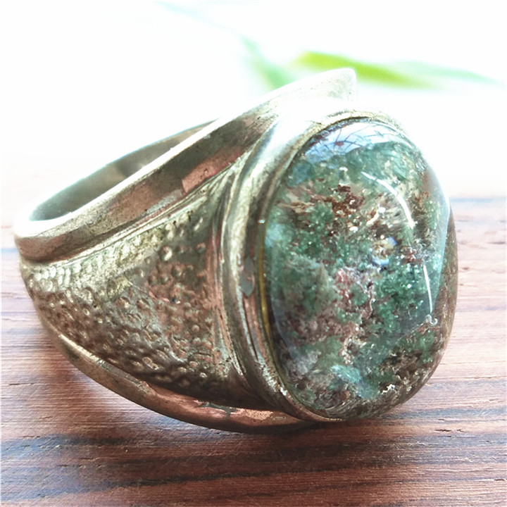 Rare natural colorful ghost crystal ring red and green GEMSTONE 925 silver inlaid mens style for father and husband