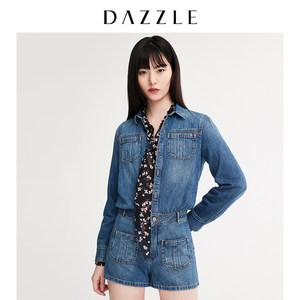 劉雯同款DAZZLE地素 19秋裝新款水洗牛仔連體短褲女2G1P7051T
