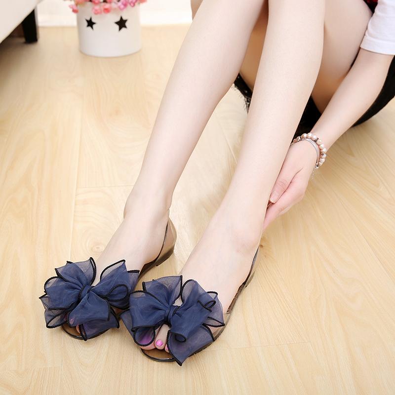夏季歐美蕾絲蝴蝶結花朵平底涼鞋女單鞋魚嘴果凍鞋孕婦塑膠沙灘鞋