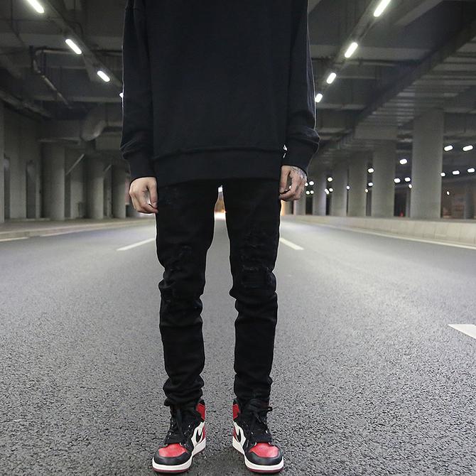 显腿长丧系破坏长裤 牛仔裤 小脚 KANYE高街风破洞补丁黑色百搭修身