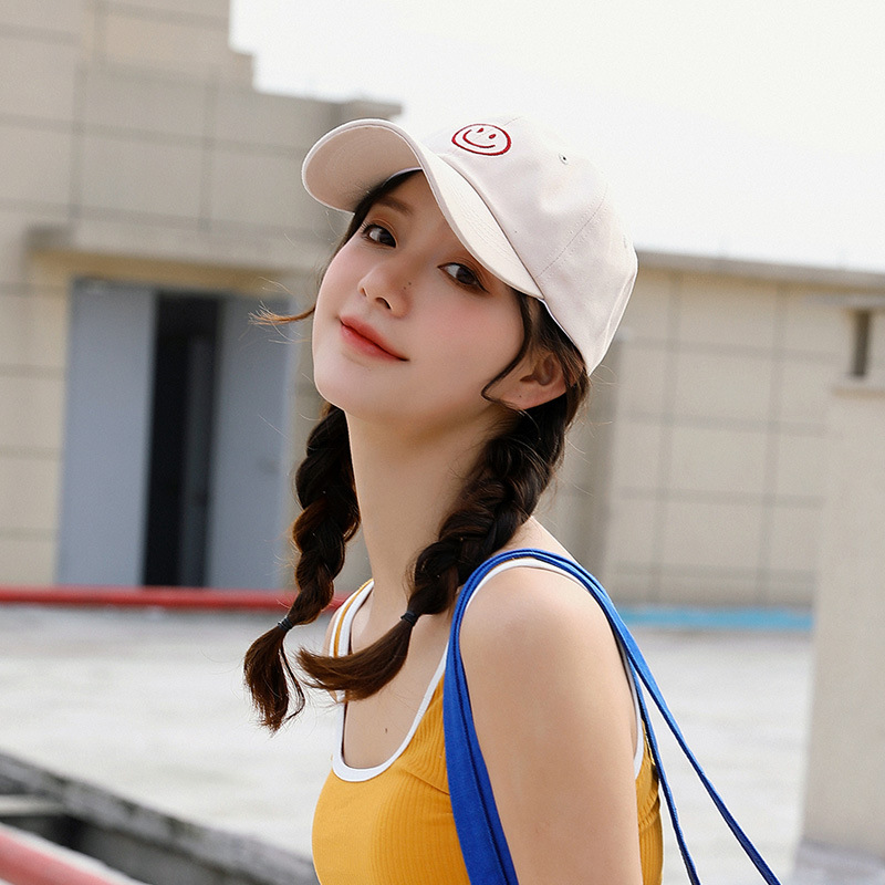 Japanese Harajuku net red smiling face curved brim hat embroidery sweet and lovely couple soft top baseball cap sunshade and sunscreen