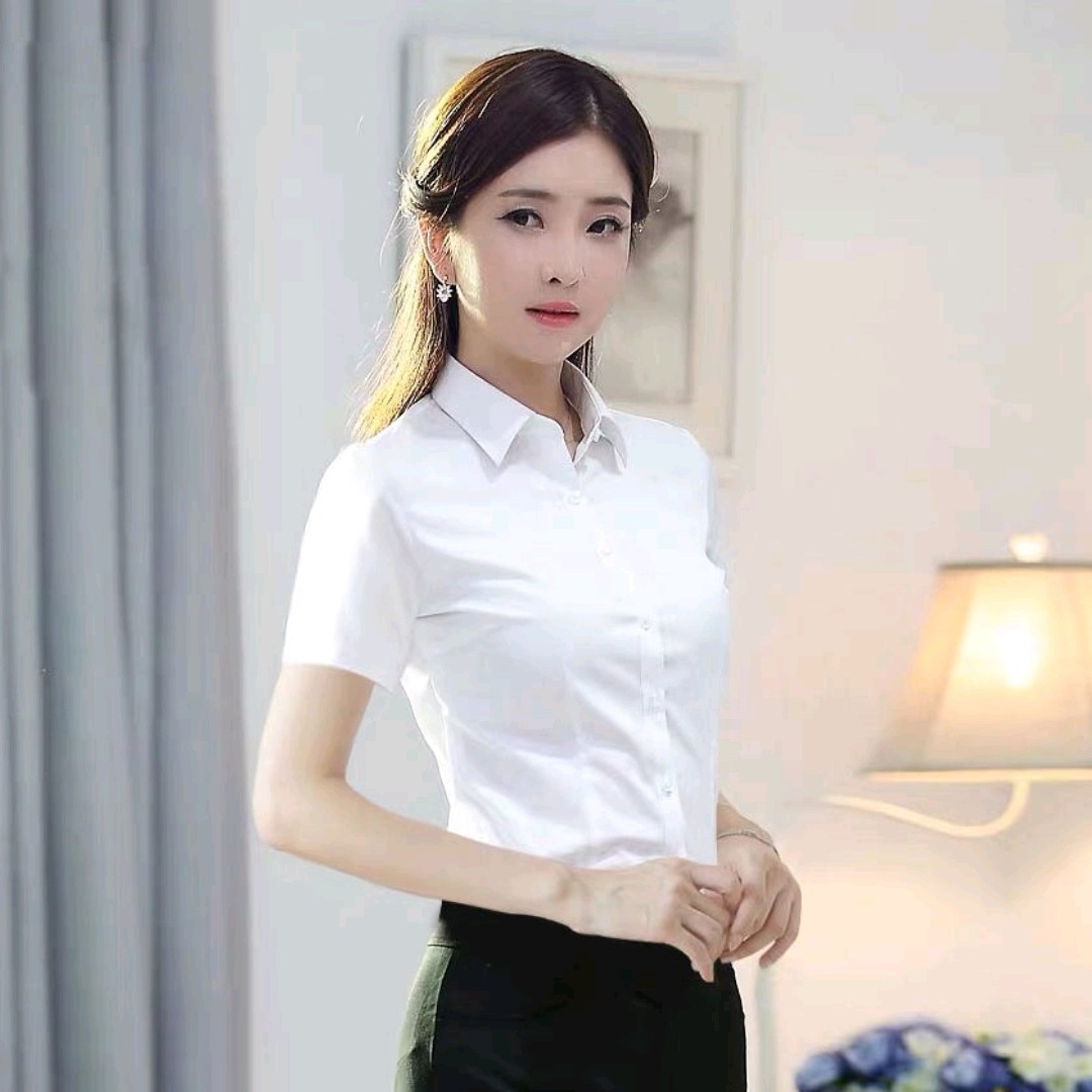 New spring Han Fan white shirt womens short sleeve professional work clothes formal work clothes large size half sleeve Slim Fit Shirt summer