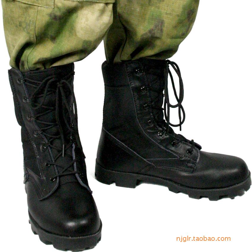 包邮系带中筒黑牛皮巴拿马战术靴沙漠丛林男士作战军靴