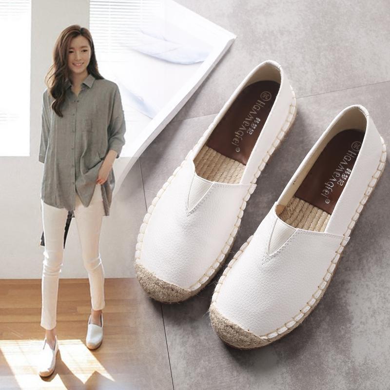 平底单鞋子女2021年春季新款草编渔夫鞋女一脚蹬懒人小白鞋小香风