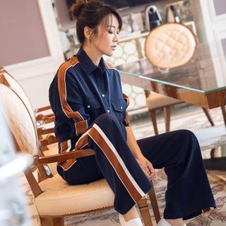 20春秋季时尚运动女装明星同款藏青色拼色衬衫阔腿裤两件套装宽松