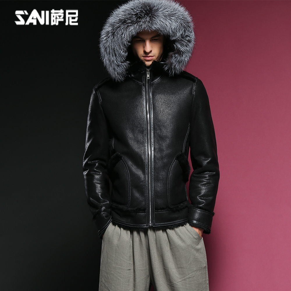 Sani fur one man leather coat sheep fur grass coat hat casual warm and slim leather jacket