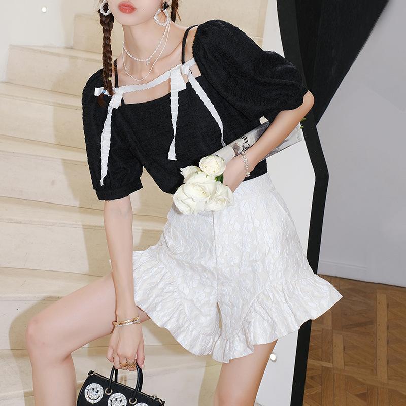 Korean personalized Ruffle shorts womens 2021 summer new high waist loose womens pants high pants one hair substitute