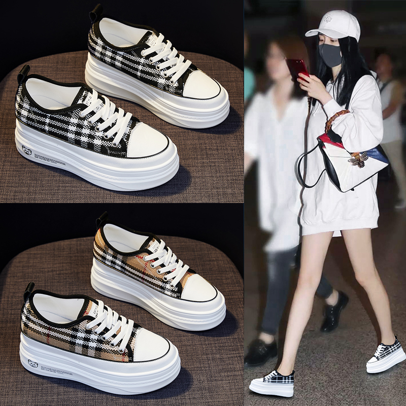 Plaid canvas shoes womens 2021 new student versatile inner elevated womens shoes summer super fire thick soled lightweight board shoes