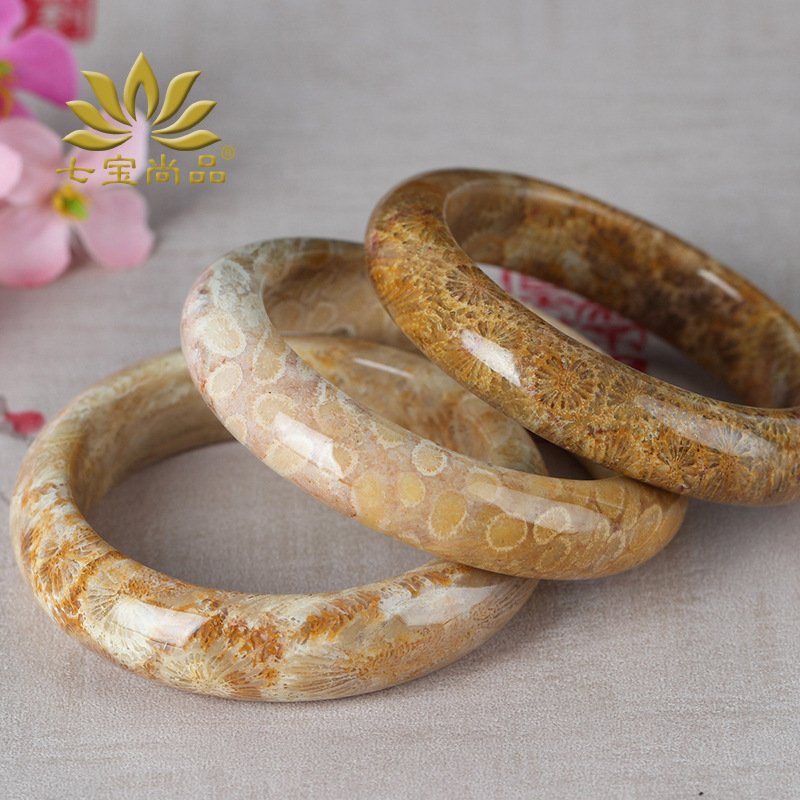 Class a 52mm circle mouth new coral jade bracelet chrysanthemum stone bracelet female fossil bracelet jewelry manufacturers wholesale