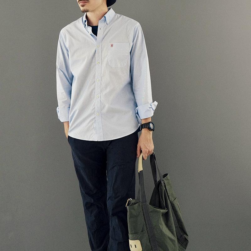 11-04新券arba 衬衫男秋季休闲纯棉长袖蓝白条纹衬衣 S30 Blove