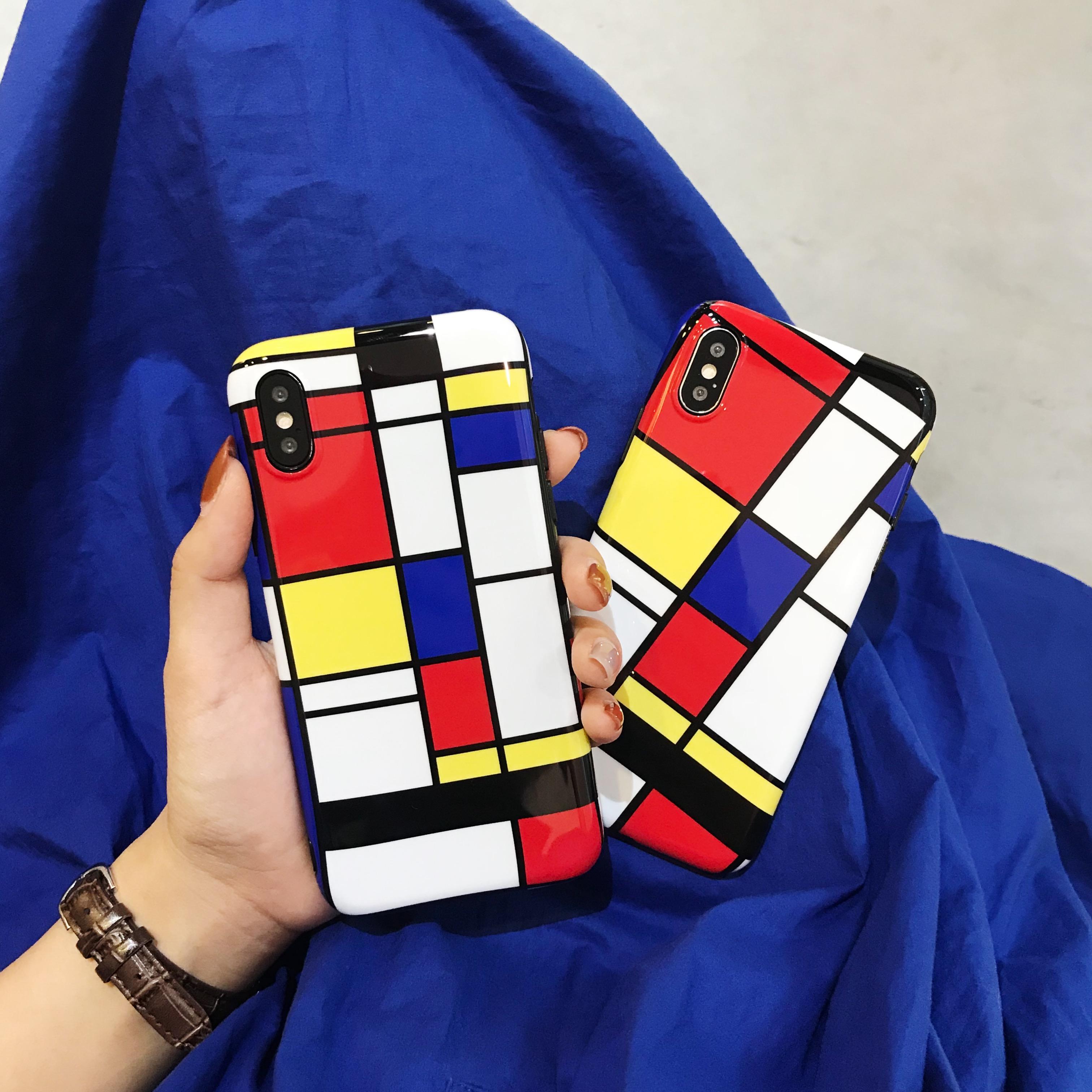 日韩创意彩色线条格苹果X手机壳时尚iphone7/8plus保护软套6s潮女