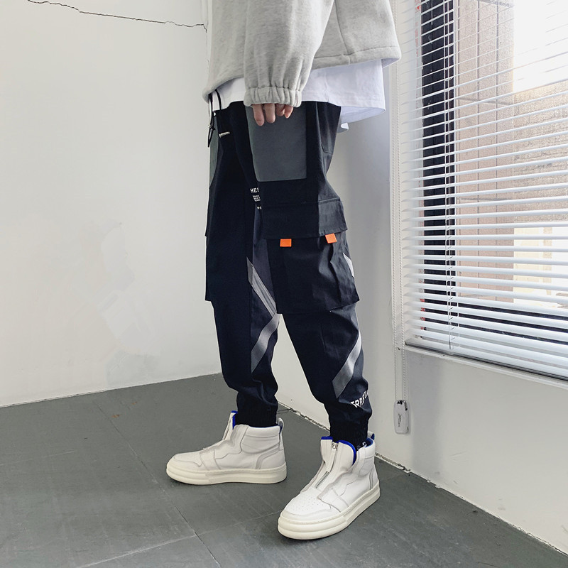 Pants mens spring and autumn Korean trend brand legging overalls spring all-around nine point pants sports and leisure pants